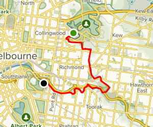 Yarra River from Abbotsford to Royal Botanic Gardens Map