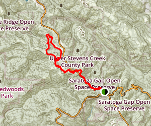 Saratoga Gap Long Ridge Loop Trail Map