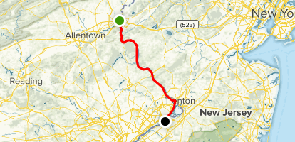 Delaware Canal Trail: Easton to Bristol Map