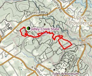 Ridley Creek State Park Area Trails Map
