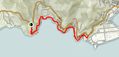 Coast Trail along Cass Bay and Corsair Bay Map