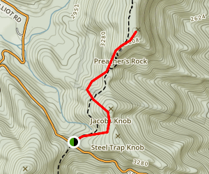 Woody Gap to Preachers Rock Trail Map