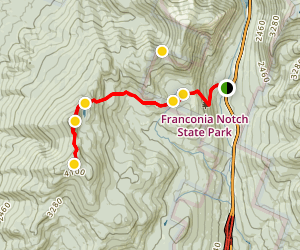 North Kinsman and South Kinsman Trail via Lonesome Lake and Appalachian Trail Map