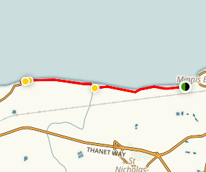 Minnis Bay to Reculver County Park Via Northern Sea Wall Trail Map