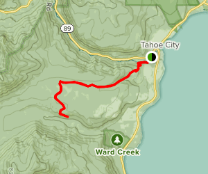 Tahoe Rim Trail (TRT): Ward Canyon to Paige Meadows Map
