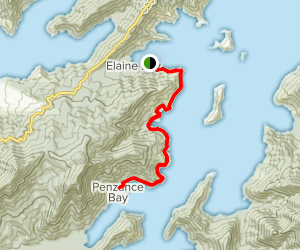 Elaine Bay via Archers Track Map