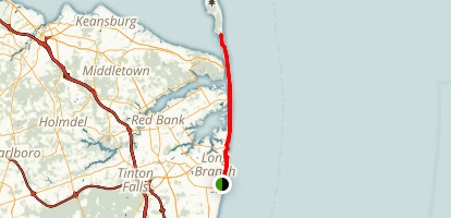 Ocean Bike Path: Long Branch to Sandy Hook Map