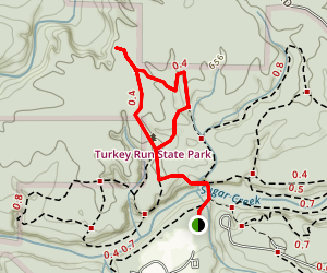 Trail 10 at Turkey Run State Park Map