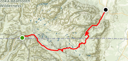 Beartooth Highway: Silver Gate to Red Lodge Map