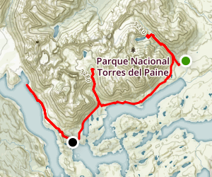 "Torres del Paine ""W"" Circuit Map"