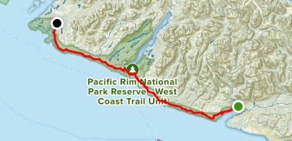 West Coast Trail (South to North) Map