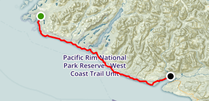 West Coast Trail (North to South) Map