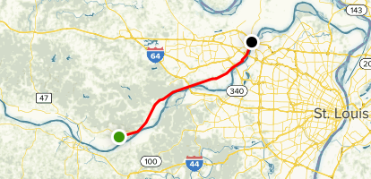 Katy Trail:  Augusta to St. Charles Map