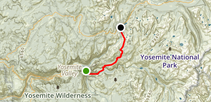 Yosemite Valley to Tenaya Lake Via John Muir Trail Map