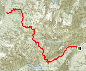 Lake Caroline and Windy Pass Map
