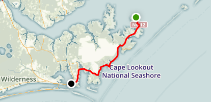 Cedar Island to Beaufort Scenic Drive Map
