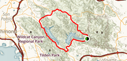 San Pablo and Briones Reservoirs Loop Map