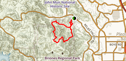 Diablo View Trail and Toyon Canyon Trail Loop Map