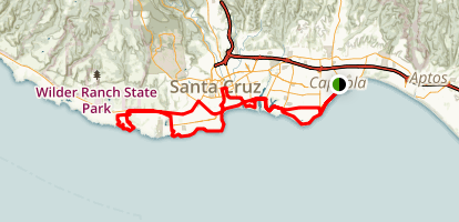 Santa Cruz and Capitola Beach Ride Map