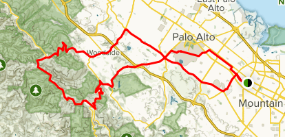 Kings Mountain and Skyline Cycling Loop Map