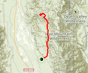 Mazourka Peak Via Mazourka Canyon Road Map