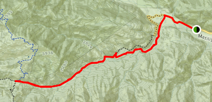 Murietta Canyon Trail to Murietta Divide Trail Map