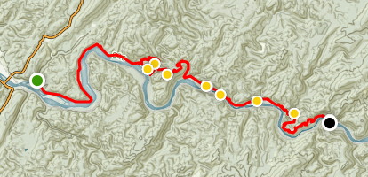 John Muir National Recreation Trail: Hiwassee River Segment Map