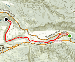 Sandy River: Marmot Bridge to Marmot Diversion Dam Map