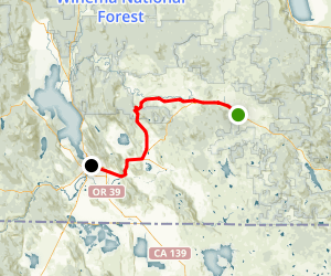 OC & E Woods Line State Trail: Bly to Klamath Falls Map