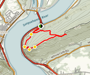 Appalachian Trail from Clarks Ferry Bridge to Peters Mountain Ridge Map