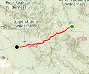 Gila-Pinal Scenic Road: Miami to Florence Junction Map