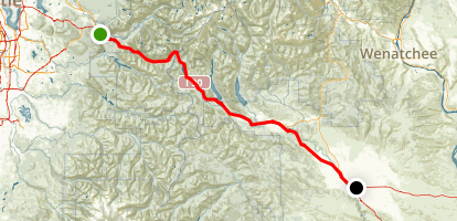 North Bend to Ellensburg via Snoqualmie Pass Map