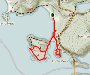 Lighthouse Point and Lottie Point Loop Trail Map