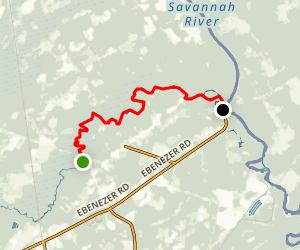 Ebenezer Creek: Long Bridge Road to Savannah River Map