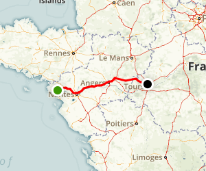 Saint-Nazaire to Tours Map