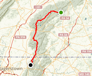Appalachian Trail: Pine Grove Furnace State Park to Raven Rock Rd Map