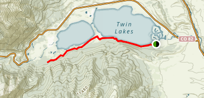 Twin Lakes Reservoir and Interlaken via Colorado Trail Map