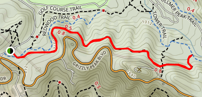 Grizzly Peak Trail from Golf Course Drive Map