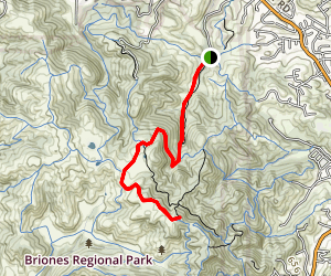 Briones Peak Via Alahambra Creek and Briones Crest Trails Map