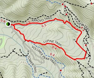 Arroyo Trail to Lupine Trail Loop Map