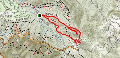 Vollmer Peak Trail and Lupine Trail Loop Map