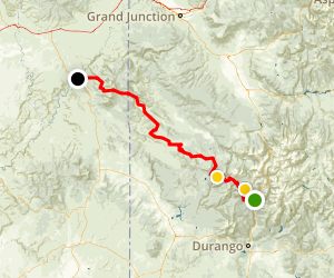 Hermosa Creek to Moab Bike Trip Map