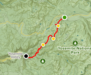 Cathedral Lakes to Clouds Rest to Yosemite Valley Map