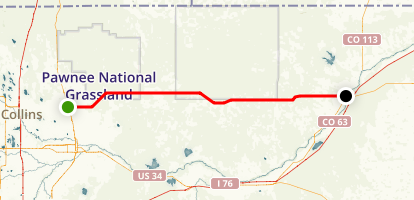 Pawnee Grasslands Scenic Drive: Ault to Sterling Map
