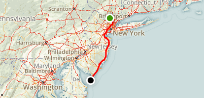 Spring Valley to Cape May Map