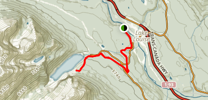 Lake Louise Tramline Trail to Lookout Map