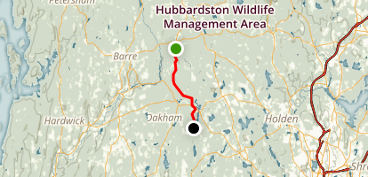 Midstate Trail: Barre Falls Dam to Rutland Map