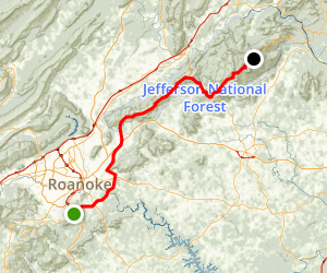 Blue Ridge Parkway South: Roanoke to North Carolina Map