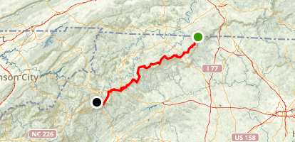Blue Ridge Parkway: Virginia State Line to Blowing Rock Map