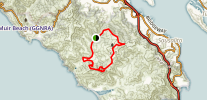 Tennessee Valley Trail to Coastal Trail to Miwok Trail Loop Map